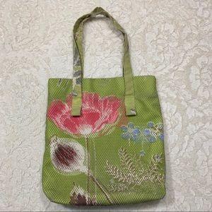 Anthro Epice Floral Canvas Mesh Bag Tote Shopper
